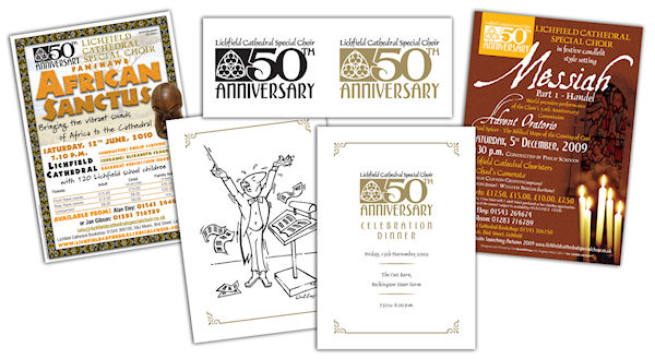 LCSC - Logo identity for Lichfield Cathedral Special Choir 50th Anniversary. Including design of concert literature, programme and illustration for a celebratory dinner menu