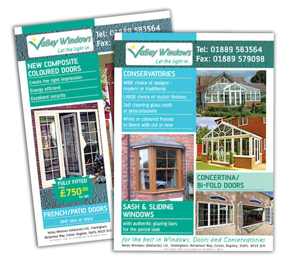 Valley Windows - A4 sales leaflets for a uPVC window, door and conservatory supplier