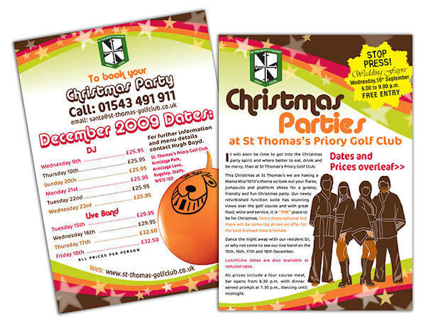 St Thomas's Priory - Seventies themed A5 Christmas party events leaflet